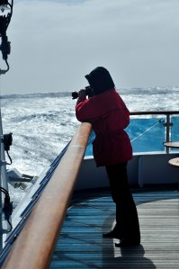 Patti Godwin on the aft deck of the MV Orion on its return from Mawson's Hut