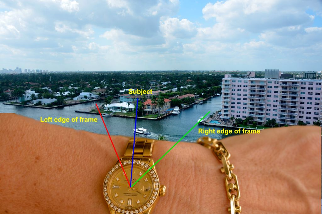 Wristwatch used to tell angle of view of picture.